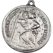 Vintage Sterling Silver Large St. Christopher Medal