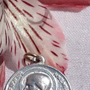 REDUCED Vintage Silver Tone Metal Sweet Heart Of Jesus Medal