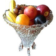 SALE Vintage English 2 Piece Diamond Pattern Glass Footed Bowl/Vase