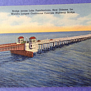 Vintage World's Longest Concrete Highway Bridge Lake Pontchartrain New Orleans