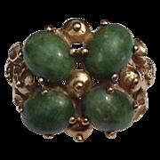 REDUCED Vintage 14K Gold Cabochon Jade Ring