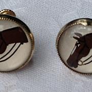 REDUCED Vintage Reverse Painted Horse Head Earrings