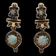 REDUCED Vintage 14K Gold Cabochon Opal Dangle Earrings