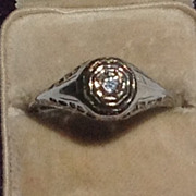 REDUCED Art Deco 14K White Gold  Filigree Diamond Engagement Ring