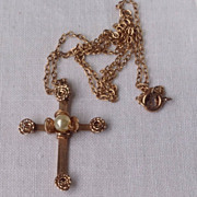 REDUCED Vintage Gold Filled  Floral Motif Pearl Cross & Chain