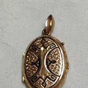 Victorian Hand Chased  Rose Gold Filled Black Enamel Mourning  Locket
