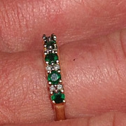 REDUCED Vintage 14K Yellow Gold Emerald & Diamond Stackable Band Ring