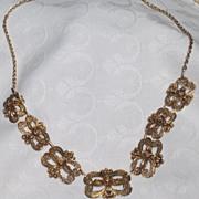 Vintage Gold Vermeil Flexible Link Floral Motif Necklace