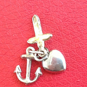 Vintage Sterling SIlver Faith Hope & Charity Charm