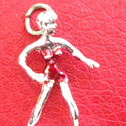 SALE Vintage Sterling Silver Enamel Girl Surfer Charm