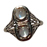 REDUCED Vintage Art Deco 14K White Gold Filigree Double Moonstone Ring