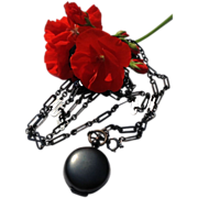 REDUCED Rare Large Link Antique Victorian Gunmetal Muff Lorgnette Sautoir  Watch Chain