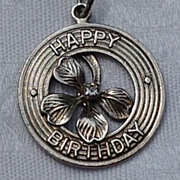 REDUCED Vintage Sterling Silver Four Leaf Clover Happy Birthday Disk Charm