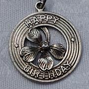 Vintage Sterling Silver Four Leaf Clover Happy Birthday Disk Charm