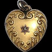 Art Nouveau 14K  Rose Gold Mine Cut Diamond Heart Pendant