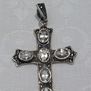 REDUCED Vintage Large  Sterling Silver Marcasite & Bright Rhinestone Cross