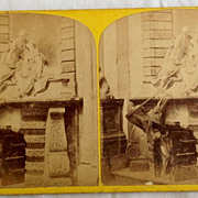 SALE 1871 Stereo Photography Stereo View Card 91 Westminster Abbey The Nightingale Tomb