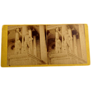 SALE 1868 Stereo-Photography Stereo View Card Statue Of Columbus