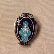 SALE Vintage Silver Tone Metal Blue Enamel Catholic Religious Pin