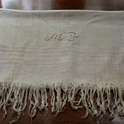 "REDUCED Vintage Home Spun Fringed Towel 50"" X 30"""
