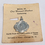 SALE Vintage Blessed Mother Medal Containing Earth From The Catacombs Of Rome
