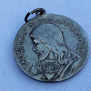 SALE Vintage Sacred Heart Of Jesus Have Mercy On Us Silver Tone Medal