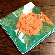 Vintage 1940's Floral Handkerchief