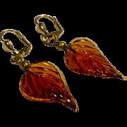 Vintage Gold Filled Amber Glass Dangle Earrings