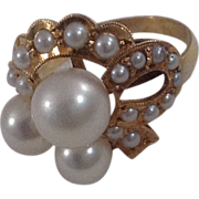 REDUCED Vintage 14 K Gold Cultured Pearl Ring