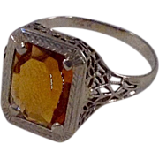 REDUCED Vintage 14 K Filigree Gold Citrine Ring