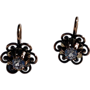 REDUCED Vintage  French 18 K Gold Spinel Buttercup Earrings