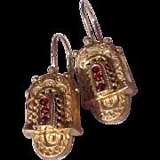 REDUCED Victorian Gold Filled Garnet Earrings
