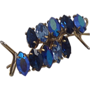 SALE Vintage Gold Filled Blue Rhinestone Earrings