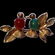 Vintage 14 K Gold Filled Winard Lovebird Brooch
