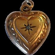 Vintage 14 K Gold Filled Genuine Diamond  Puffy Heart Double Photo Locket