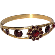 REDUCED Vintage Gold Filled Faux Garnet Bangle Bracelet