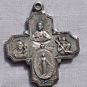 SOLD Vintage Sterling Silver Four Way Devotional Miraculous Medal