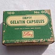Vintage Eli Lilly & Co. Empty Gelatin Capsules Box No. 00