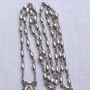 Art Deco Sterling Silver Rice Bead Rosary