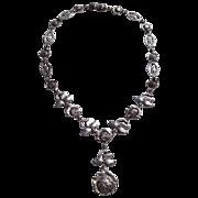 REDUCED Art Deco Silver Tone Flexible Link Necklace Rose Motif