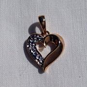 REDUCED Vintage Sterling Silver Vermeil Rhinestone Heart Pendant