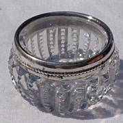 Vintage Sterling Silver Rim  Cut Crystal Salt Cellar Dish