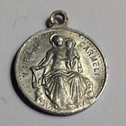 SALE French Vintage Aluminum Our Lady Of Mt.  Carmel Silver Tone Medal