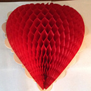 SALE Vintage Honeycomb Valentine Heart Set Of Two
