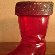 Vintage Hard Plastic Red Santa Boot Candy Container