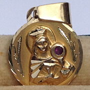 SOLD Vintage 14 K Gold Ruby Paste Virgin Mary Medal