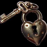Vintage Gold Filled Heart Lock Key Charm