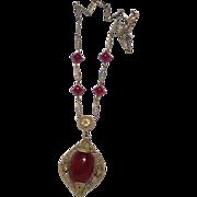 Art Deco Czechoslovakia Brass & Faux Carnelian Glass Necklace