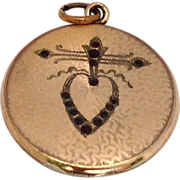 REDUCED Art Deco Gold Filled Round  Double Photo Heart Motif Locket