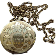 REDUCED Vintage 12 K Gold Filled Double Photo Locket & Chain